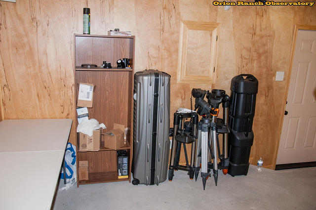 Finishing the cleanup and re-arranging of the obsevatory to make more room for observers on the north end.  Still need to do something about those open particle board wood shelves from the garage sale.  I just have too much dust from the nearby easement r