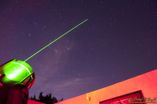 Comet Lovejoy Near Orion with Laser Pointer - 150107